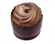 גיאנדוחה על קרם אגוזי לוז בגביע שוקולד מריר.